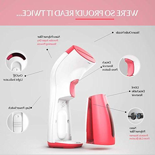 iSteam Powerful Use: Wrinkle Remover-Clean-Sterilize-Sanitize-Refresh-Treat-Defrost. Pink