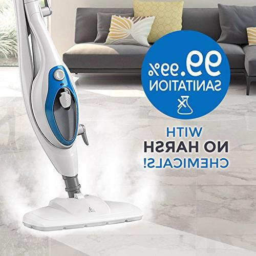 Steam Mop 10-in-1 with Convenient Handheld Unit, Laminate/Hardwood/Tiles/Carpet - - Pet Friendly Whole House Multipurpose by